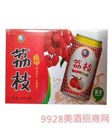 荔枝味果味饮料易拉罐装320mlX24罐