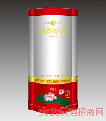 钻石荷花酒荣耀8(红)52度500ml