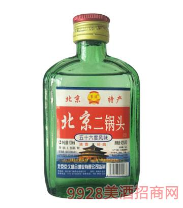 北京二锅头酒绿扁瓶42度100mlx40清香型
