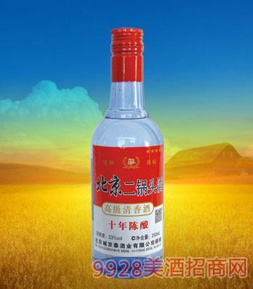 京泰北京二锅头十年陈酿53度250ml清香型