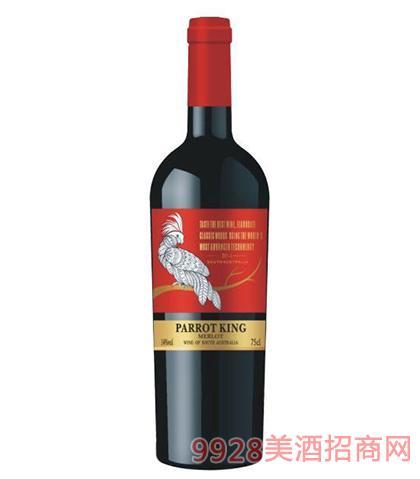 鹦鹉王美乐干红葡萄酒14度750ml