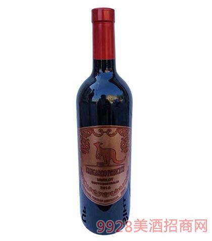 袋鼠公主梅洛干红葡萄酒14度700ml