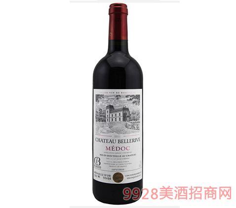 法国波尔多美丽河城堡红葡萄酒14度