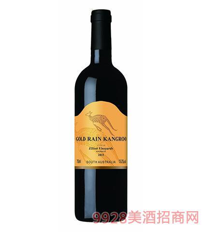 澳洲黄金雨金袋鼠西拉干红葡萄酒13度750ml 澳洲红酒