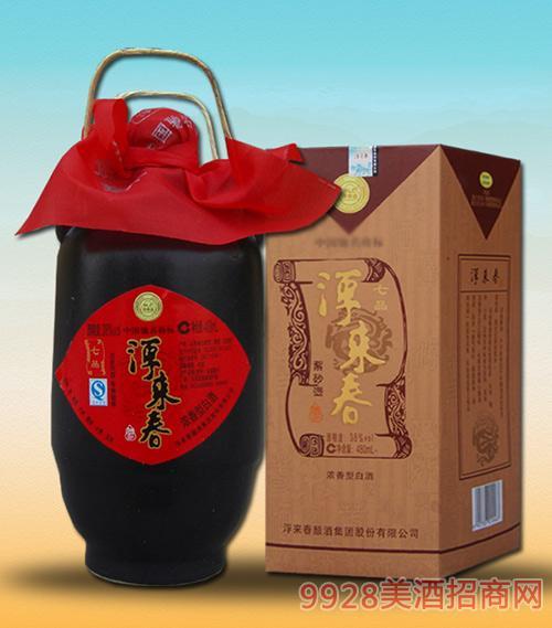 七品浮来春酒紫砂壶酒38度浓香型白酒