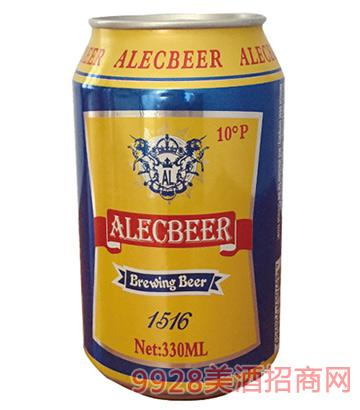 艾利克啤酒黄啤10°P330ml