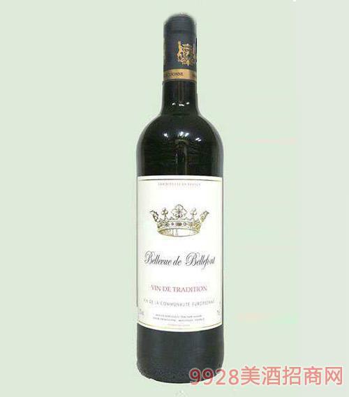 法国贝乐福巴瑞干红葡萄酒12度750ml