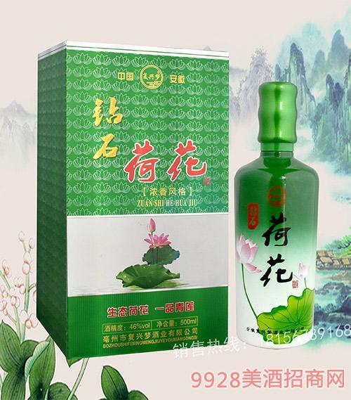 荷花(书本盒)浓香型酒46度500ml