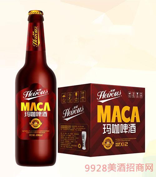 山东英豪玛咖啤酒500mlx12