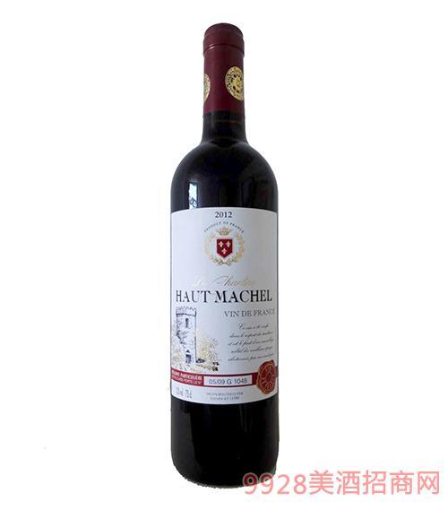 法国豪客马谢尔干红葡萄酒12度750ml