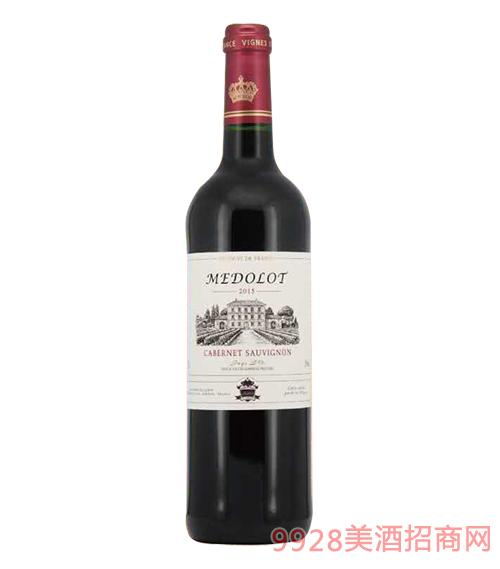 法国美多乐赤霞珠红葡萄酒13度750ml