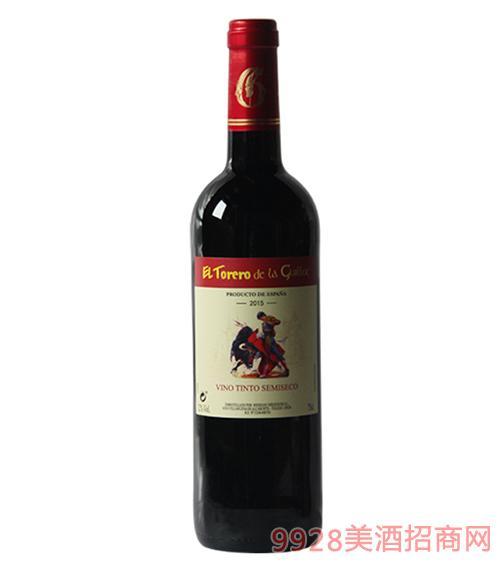 西班牙吉洛斗牛士红葡萄酒2015-12度750ml