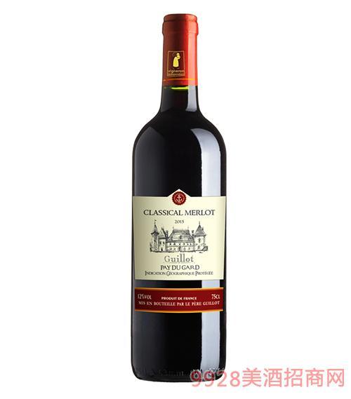 法国吉洛经典梅洛红葡萄酒12度750ml