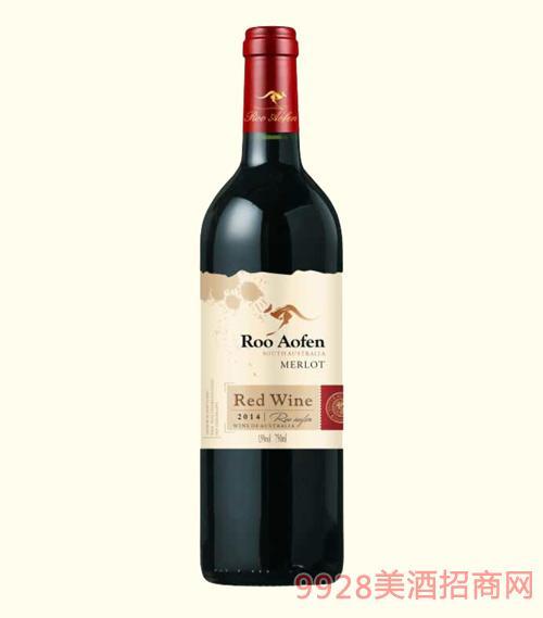 澳芬袋鼠梅洛干红葡萄酒2014-13度750ml
