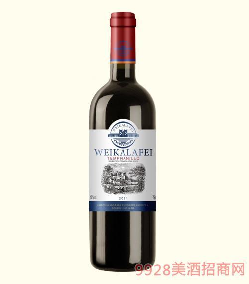 威卡拉菲干红葡萄酒2011蓝标13度750ml