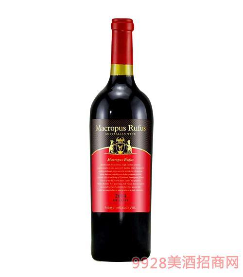 澳大利亚大赤袋鼠王美乐干红葡萄酒14度750ml