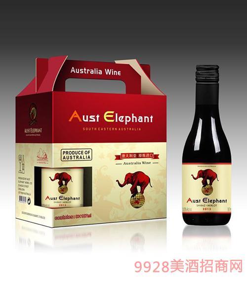 澳洲象迷你干红葡萄酒箱装13.5度750ml