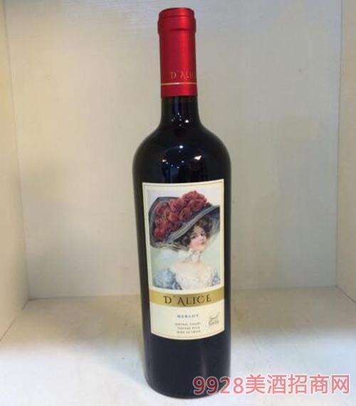 黛爱丽斯精选美乐干红葡萄酒13.5度750ml