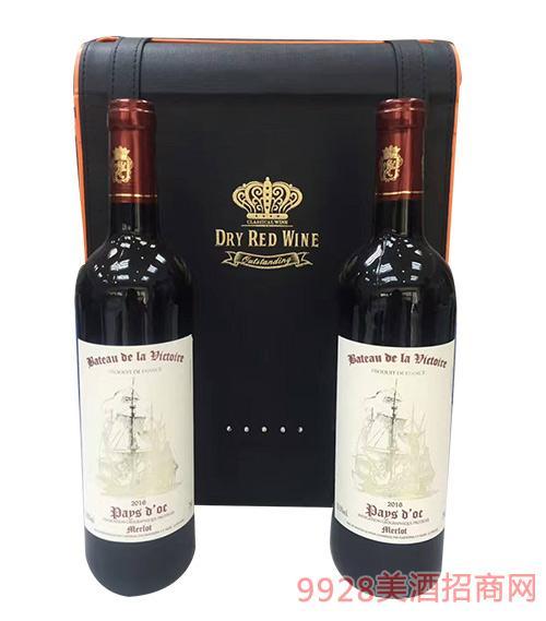 法国胜利之帆干红葡萄酒皮箱装750ml