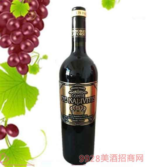 法国卡维斯伯爵干红葡萄酒13度750ml