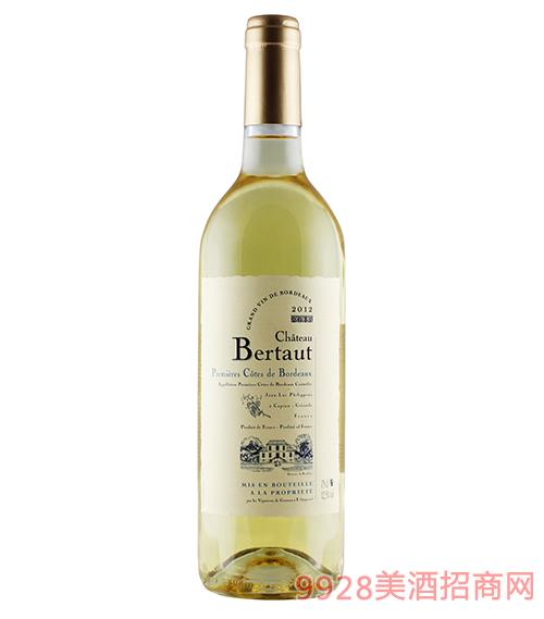法国百图城堡甜白葡萄酒12.5度750ml