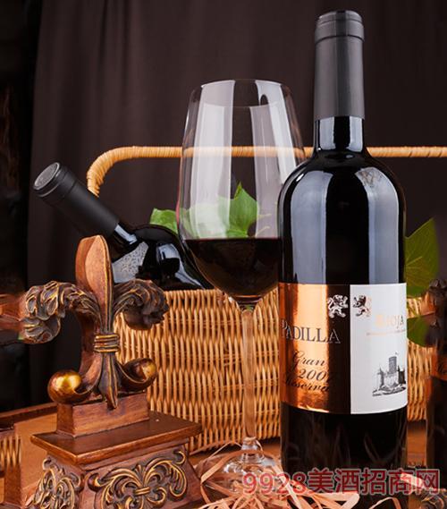 帕迪拉陈酿葡萄酒2007干型葡萄酒13度750ml