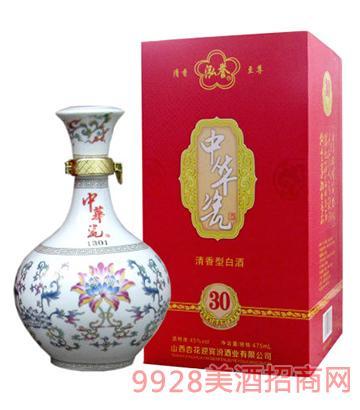 红色中 华瓷30年清香型白酒45度475ml