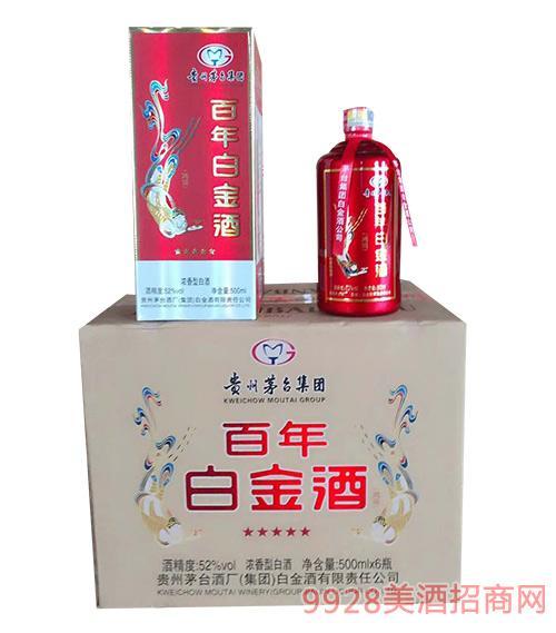 白金百年酒(红)52度500mlx6浓香型白酒