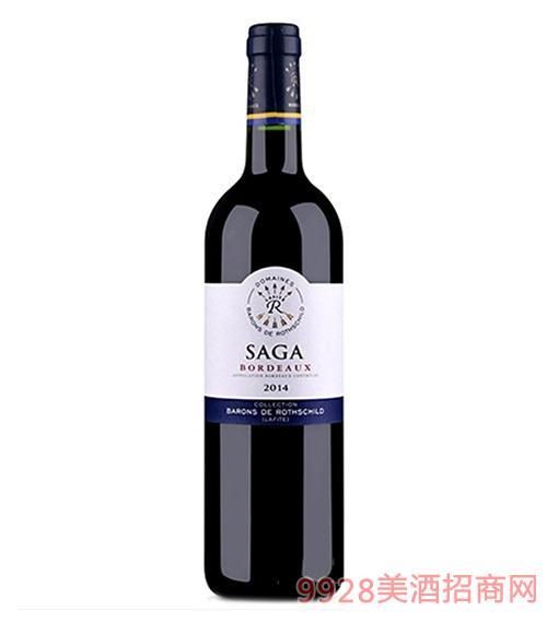 法国波尔多拉菲传说干红葡萄酒2014