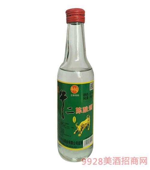 牛小山牛二陈酿酒42度260mlx20清香型白酒