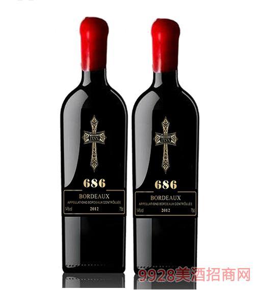 法国xsn十字架红酒686 14度750ml