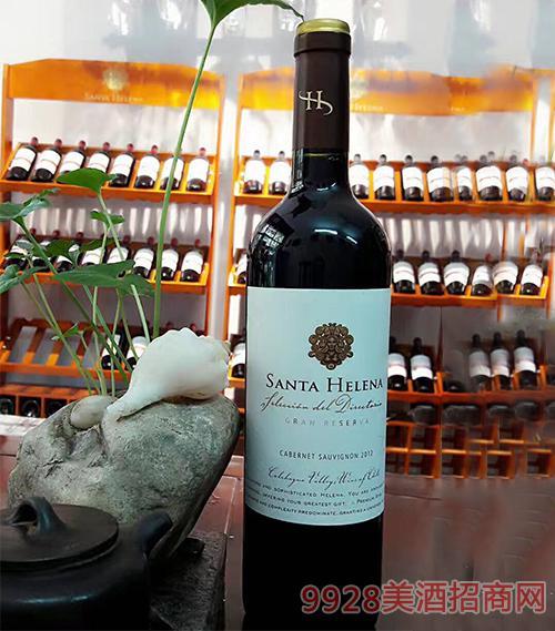 智利圣海莲娜典藏赤霞珠红葡萄酒14.5度750ml