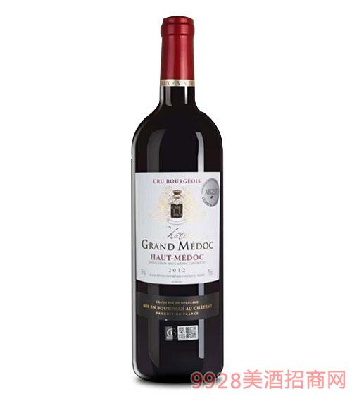 法国原瓶进口干红葡萄酒AOC等级13度750ml