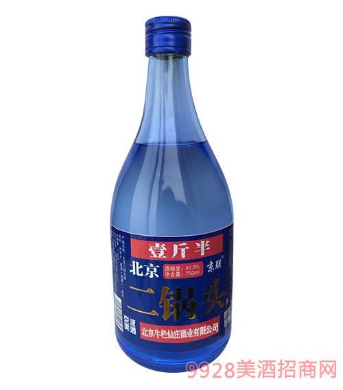 北京二锅头酒41.9度750ml(蓝瓶)