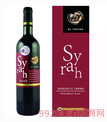 西班牙塔尼诺西拉干红葡萄酒14度750ml