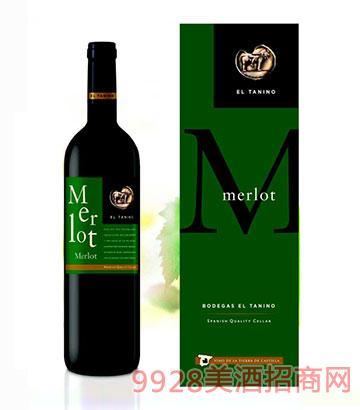 西班牙塔尼洛美乐干红葡萄酒14度750ml