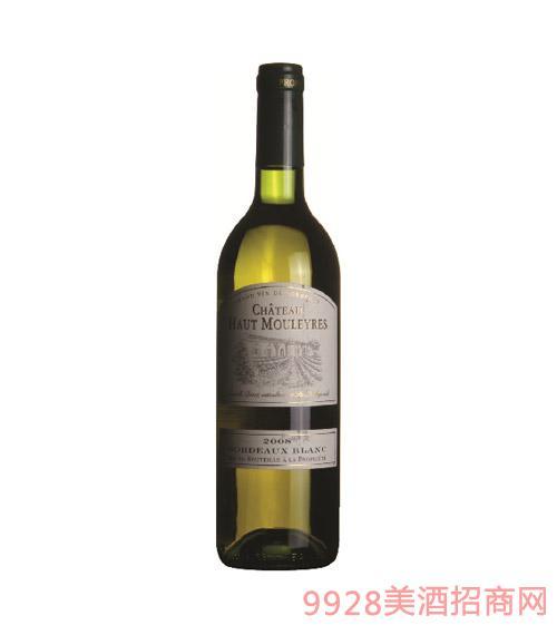 法国波尔多黑猫脷庄园干白葡萄酒2008