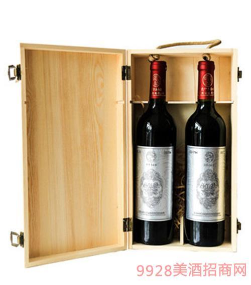 山谷春桑椹酒双支木盒