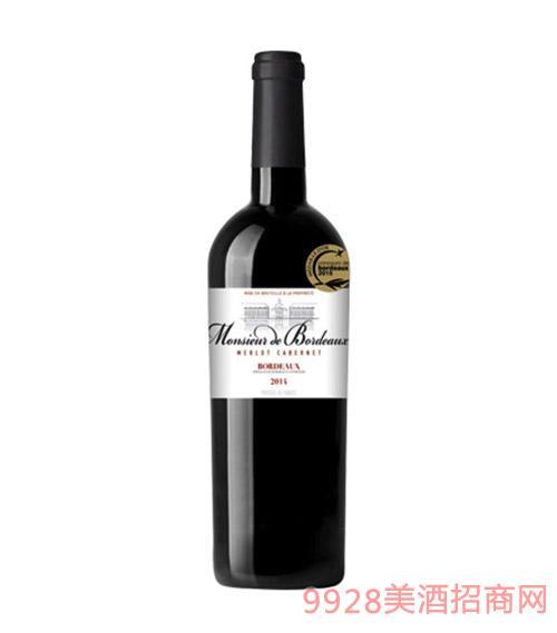 法国波尔多先生干红葡萄酒