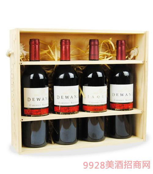 法国原汁进口德万利雅克古堡干红葡萄酒高档礼盒装4支装