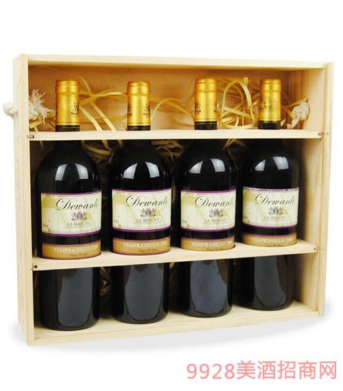 西班牙原汁进口德万利添普兰尼干红葡萄酒高档礼盒装4支装