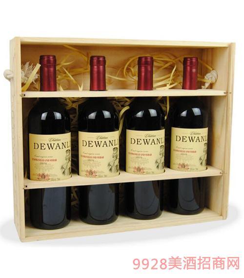 西班牙原汁进口德万利干红葡萄酒高档礼盒装4支装