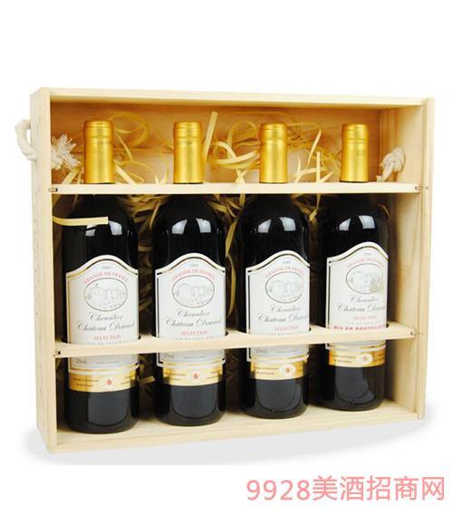 法国原酒进口红酒德万利木桐古堡干红葡萄酒礼盒装4支装