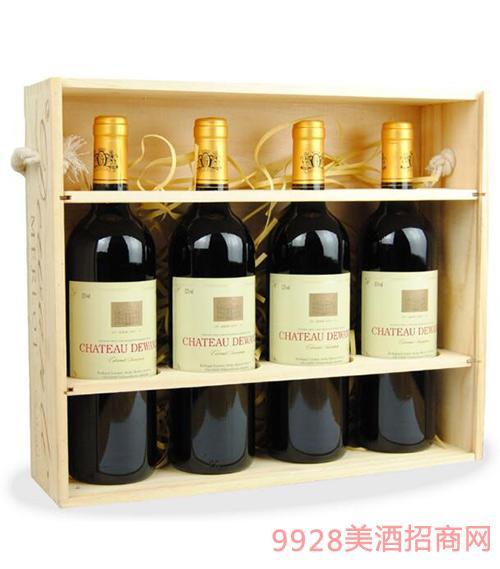 西班牙原汁进口德万利珍藏干红葡萄酒高档礼盒装4支装
