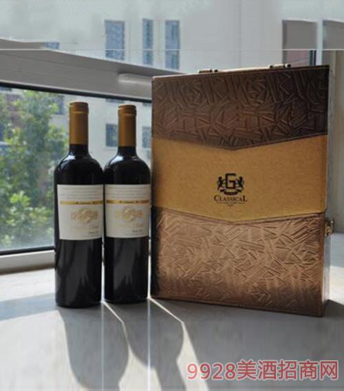 智利1888太平岛梅乐干红原瓶进口葡萄酒双支皮盒