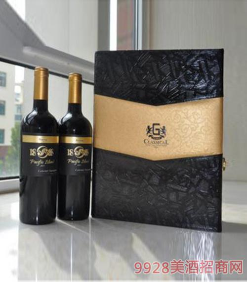 智利珍藏级1888太平岛赤霞珠干红葡萄酒双支皮盒