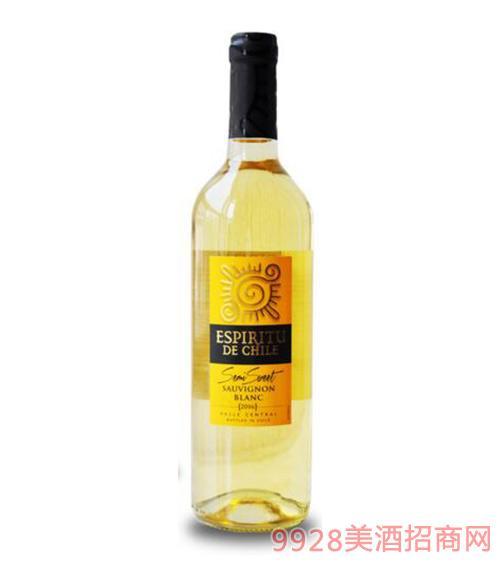 智利原瓶进口智利灵魂半甜白葡萄酒