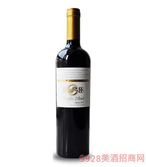 智利1888太平岛梅乐干红原瓶进口葡萄酒