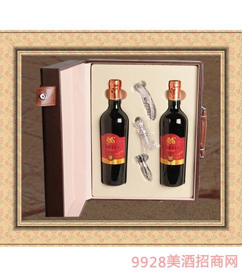 进口双支皮盒干红葡萄酒750mlx2