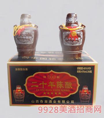 杏凝酒二十年陈酿45度475mlx6清香型白酒